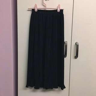 百折黑長裙