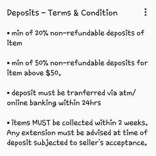 Terms & Conditons For Deposits