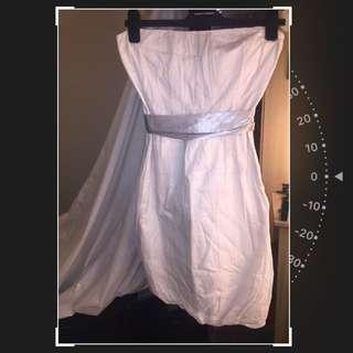 Kookai Strapless Dress - White With Fine Grey Dot Detail Sz 2