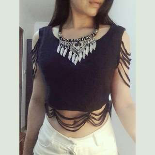 Preloved Fringe Knit Crop Top