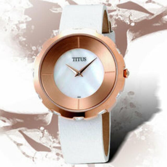 下殺4折 換物 議價 我最便宜 TITUS 鐵達時 回憶齒輪典雅時尚錶 全新 附保證書