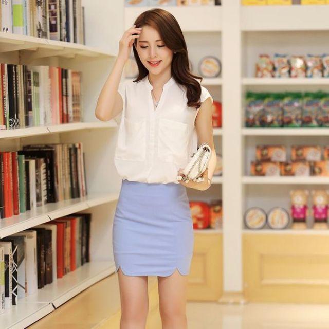 淺藍色圓角包臀裙