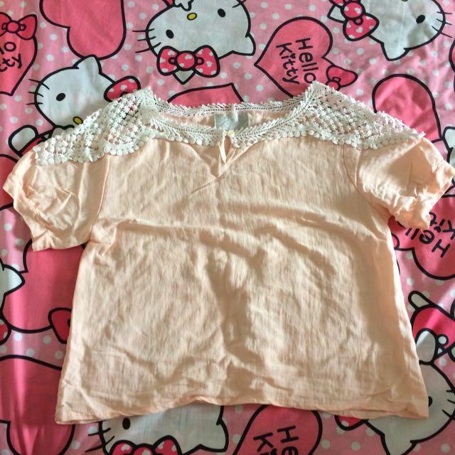 粉色麻布質感提花短袖上衣