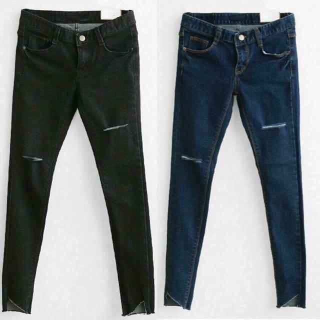 黑色顯瘦割破褲