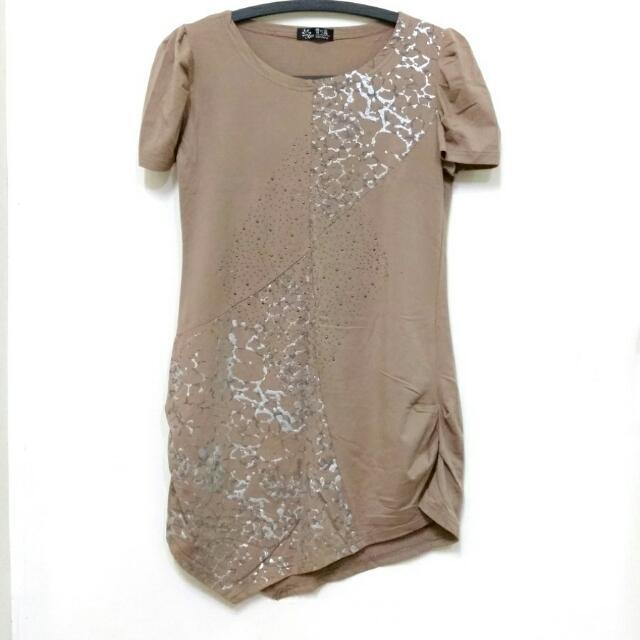 全新咖啡色長版短袖上衣連衣裙