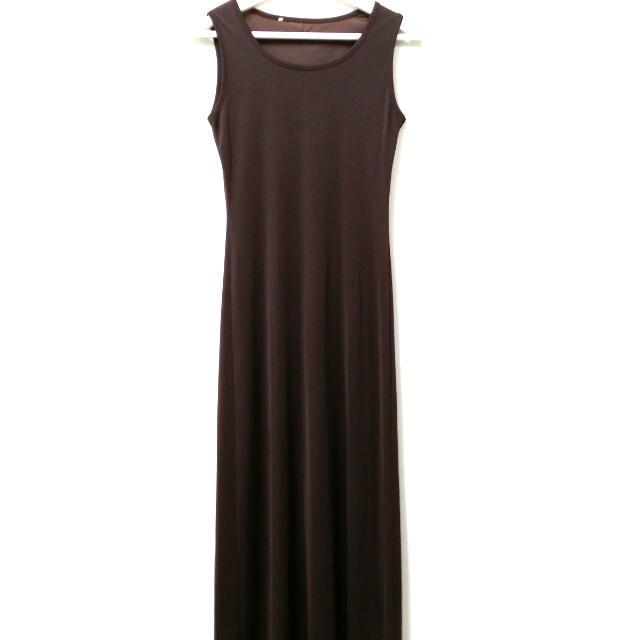 深棕色特長版無袖背心連身裙㊝任三件150元