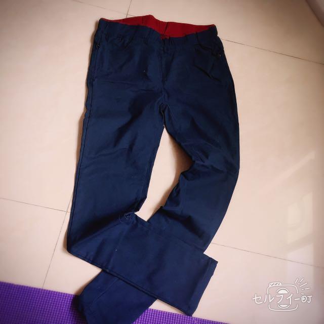 深藍色 藏青色 超彈性長褲