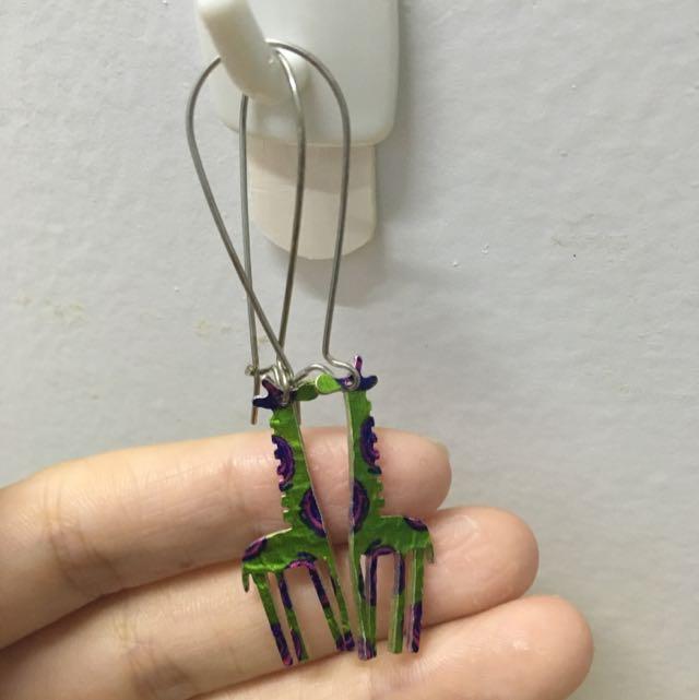 長頸鹿 耳環 吊飾 手作(轉售小貓飾品