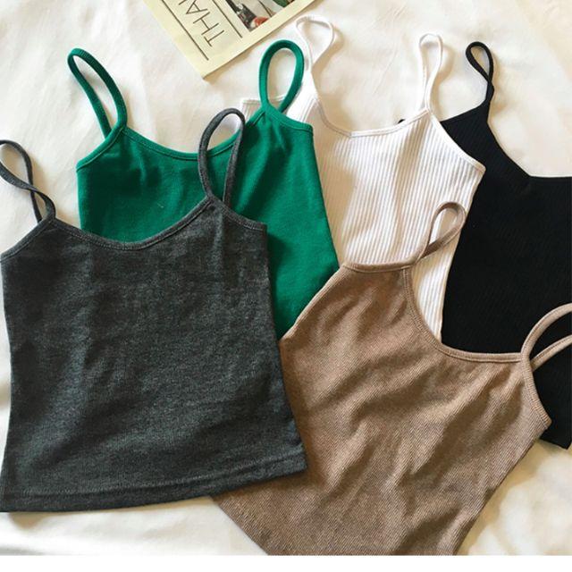 韓系百搭螺紋針織細肩帶短版內搭性感小可愛,白色 綠色 灰色 黑色 褐色【A13H05U1476】
