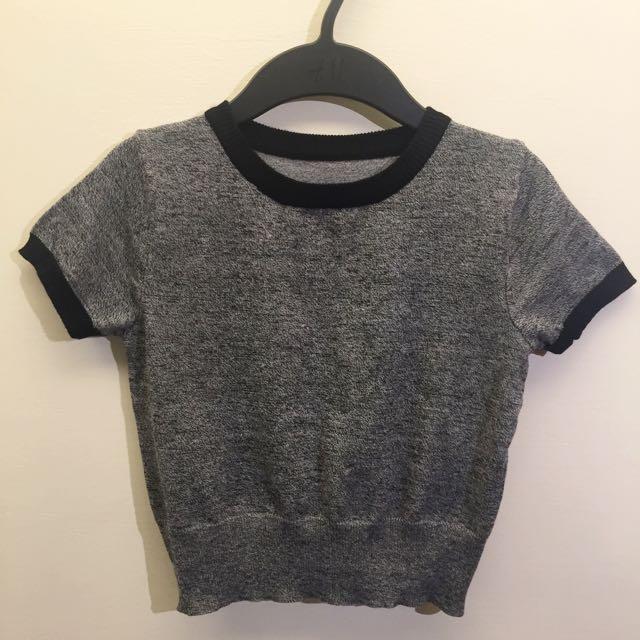 [保留]方美式風格 針織 黑灰滾邊 短版上衣T-shirt