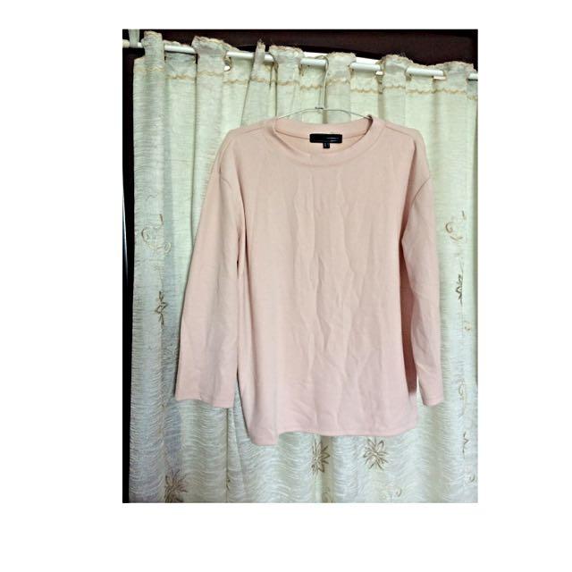 馬卡龍 淡粉色 長袖柔軟T