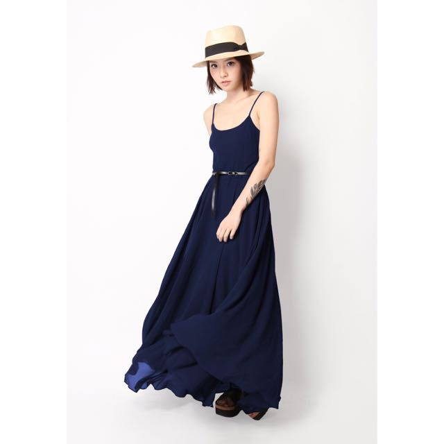 AFA AFORARCADE FLO RIDIN MAXI DRESS IN NAVY BLUE