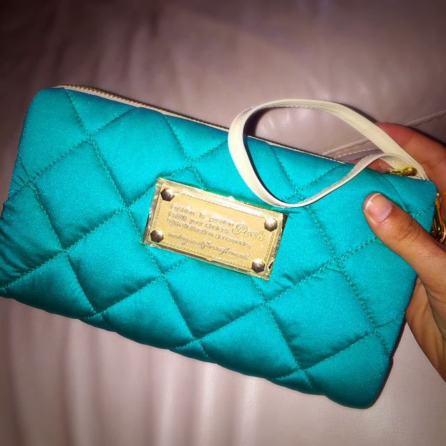 Aqua Blue Padded Clutch