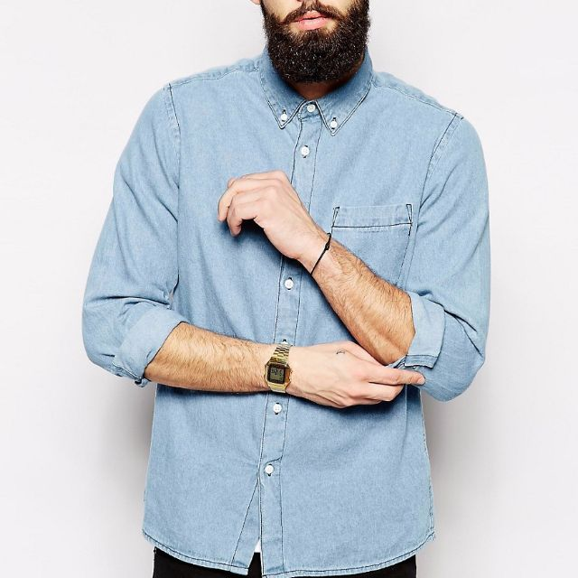 7adb2418bfd ASOS Denim Shirt In Long Sleeve With Mid Wash