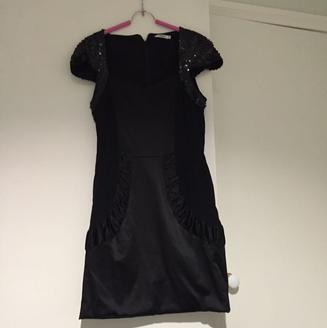 Black Sequined Cameo Cocktail Dress