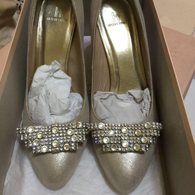 (降價)HELENE SPARK金色水鑽高跟鞋24號半