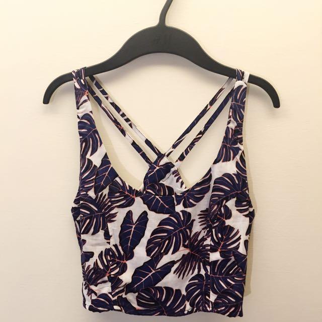 [保留]H&M 印花 美背設計 短版 背心 XS32