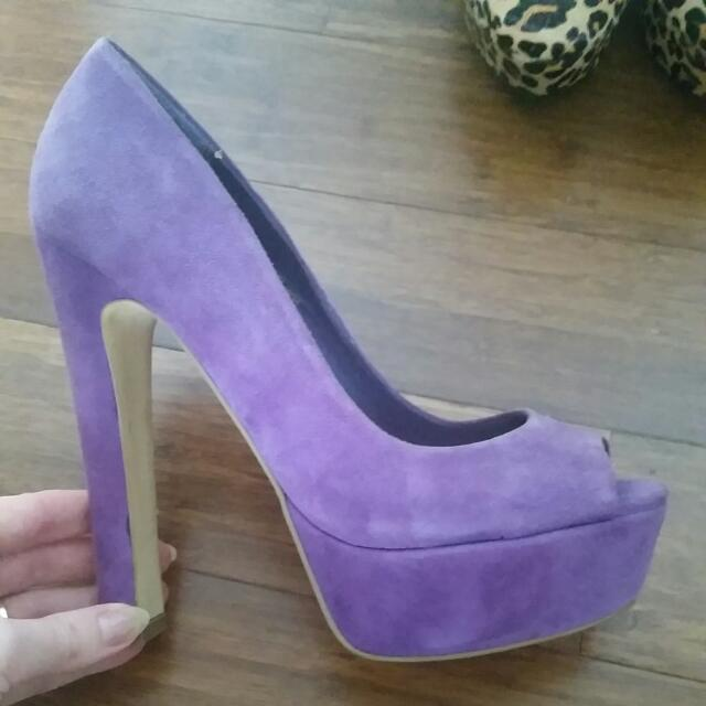 Siren Purple Peeptoe Heels Worn Once Size 6.5