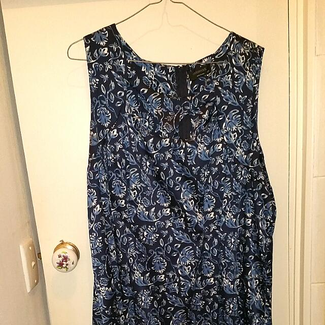 Size 20-22 Blue Floral Dress Knee Length