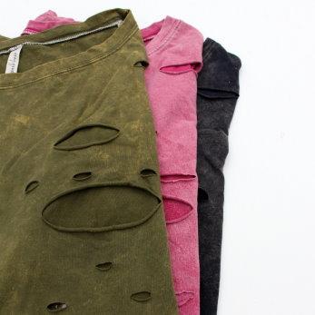T恤 復古懷舊作風不修邊剪破造型短版上衣