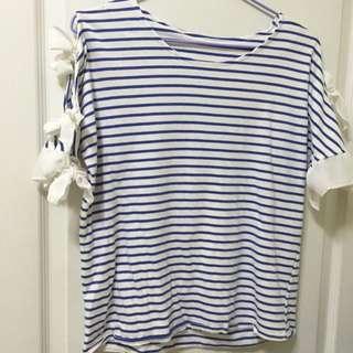 ❤️SALE❤️夏季藍條紋🔆🔆🔆雪紡綁帶造型✖️棉質白底藍條紋上衣