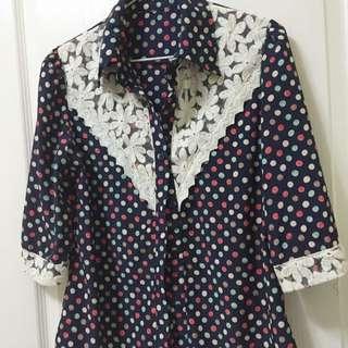 ❤️SALE❤️復古就是時尚👑彩色點點雪紡襯衫