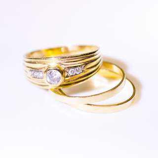 9 Carat Yellow Gold Wedding Ring Set - Engagement, Wedding & Eternity Bands
