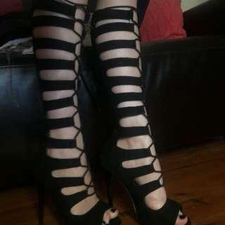 Black Strappy Under The Knee Heels