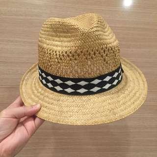 🔸全新🔹編織率帥黑白格紋草帽 紳士帽 漁夫帽