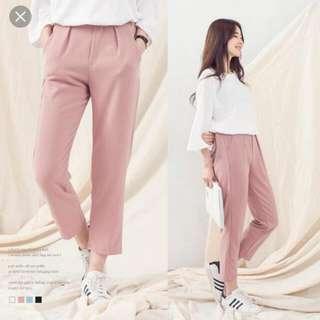 粉色 西裝褲 老爺褲