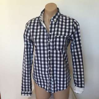 Abercrombie & Fitch Plaid Pocket Shirt Medium Blue And White Checkered