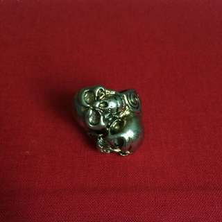 Gold Silver Double Skull Ring