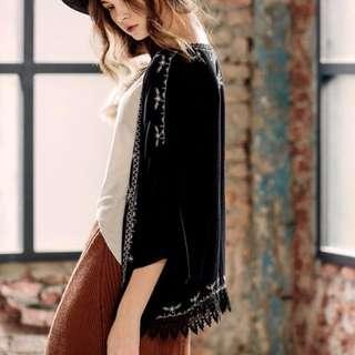 pazzo 波希米亞風蕾絲刺繡罩衫