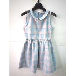 日貨 全新Titty&Co. 紗質亮藍色格紋無袖洋裝連身裙