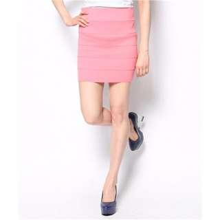 日貨二手 EMODA 歐美風亮粉色繃帶風格窄裙裙