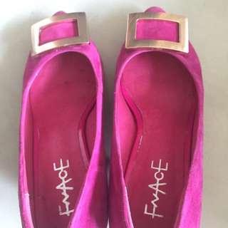 桃粉色絨布低根鞋23號