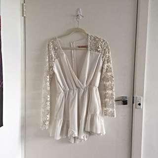 Long Sleeved White Dress