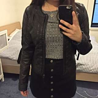 PORTMANS Leather Bomber Jacket Quilted