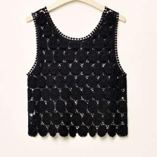 黑色蕾絲無袖上衣 M號