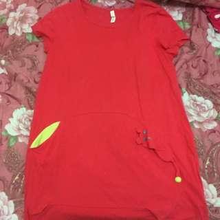 alasha粉色短袖上衣(長板)