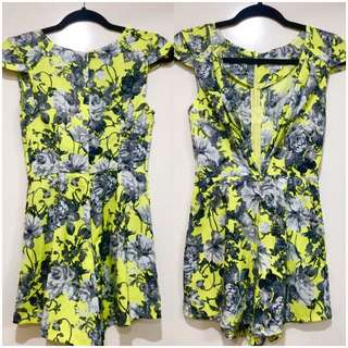 New Floral Lime Green Sexy Playsuit Sz S