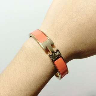 Hermes Orange Enamel Caleche Bangle