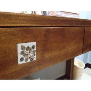 實木古典鄉村風書桌,有磁磚裝飾!