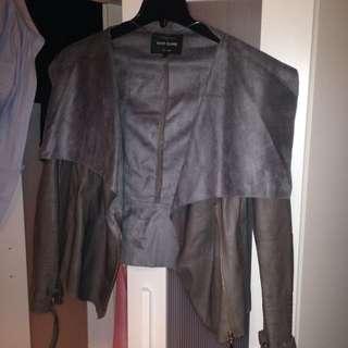 AU14 River Island Grey Leather Jacket