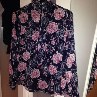 L Oriental Long Sleeve Pussybow Blouse