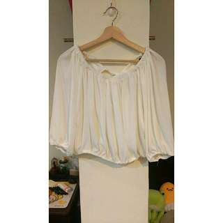 💌短版後綁帶白平口上衣