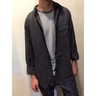 👔全新深灰色襯衫(XL)可當大衣穿