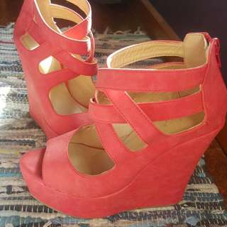 Strappy Wedge High Heel Shoes Size 6