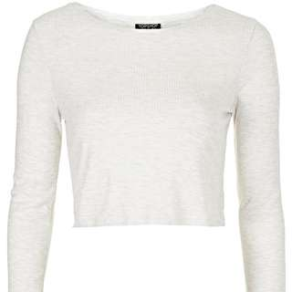 TOPSHOP Ribbed Crop Top In White