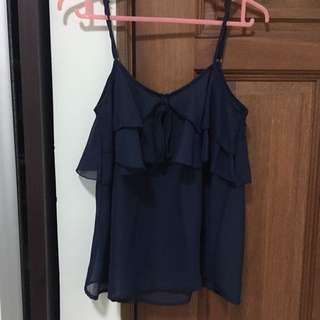 Spaghetti Strap Top In Navy Blue